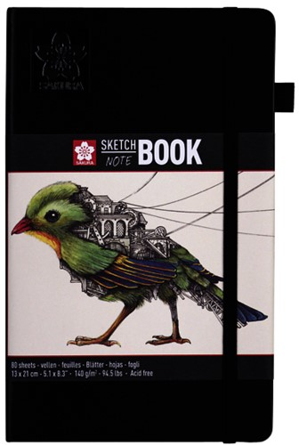 Schets-notitieboek Sakura 13x21cm wit