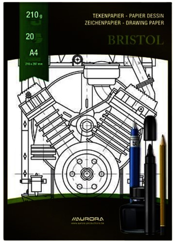 Tekenblok Aurora A4 20v 210gr Bristol papier