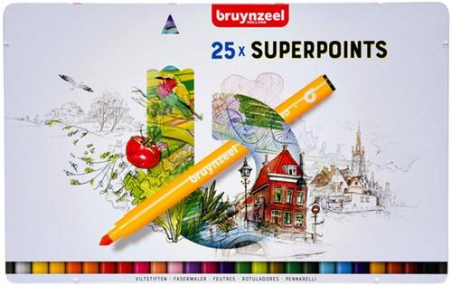 Viltstift Bruynzeel Expression super points blik à 25 stuks assorti