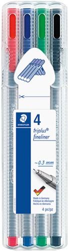 Fineliner Staedtler Triplus 334 assorti 0.3mm 4 stuks