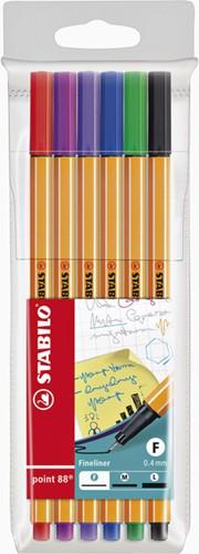 Fineliner STABILO point 88 etui à 6 kleuren