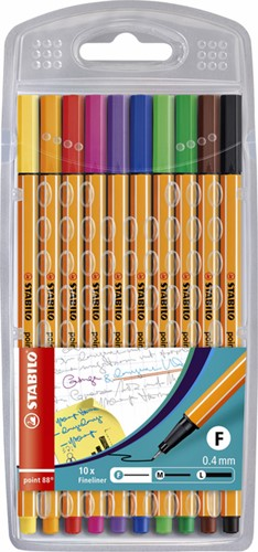Fineliner STABILO point 88 etui à 10 kleuren