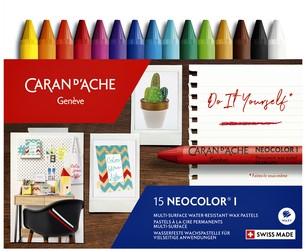 Waskrijt Caran d'Ache neocolor-I 15stuks assorti