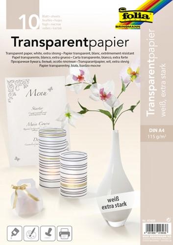 Transparant papier Folia A4 115gr wit