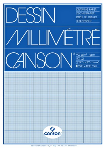 Millimeterblok Canson A3 blauw