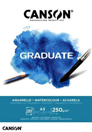 Aquarelblok Canson Graduate A3 250gr 20vel