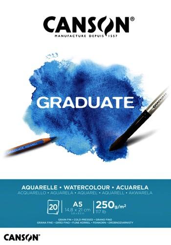 Aquarelblok Canson Graduate A5 250gr 20vel