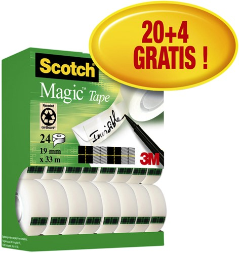 Plakband Scotch Magic 810 19mmx33m 20+4 gratis