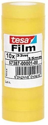 Tesa transparant plakband 15 mmx33m  / 10st