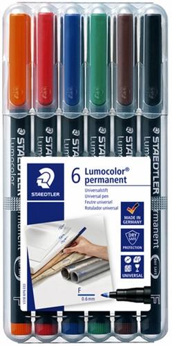Viltstift Staedtler Lumocolor 318 permanent F set à 6 stuks assorti