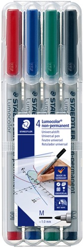 Viltstift Staedtler Lumocolor 315 non permanent M set à 4 stuks assorti