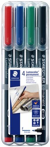 Viltstift Staedtler Lumocolor 318 permanent F set à 4 stuks assorti