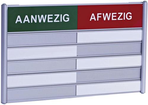 Aan- afwezigheidsbord voor 5 namen