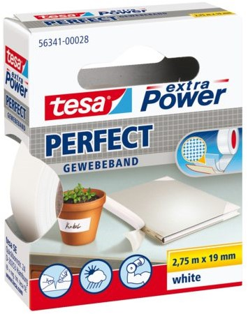 Plakband Tesa textiel 19mmx2.75m wit