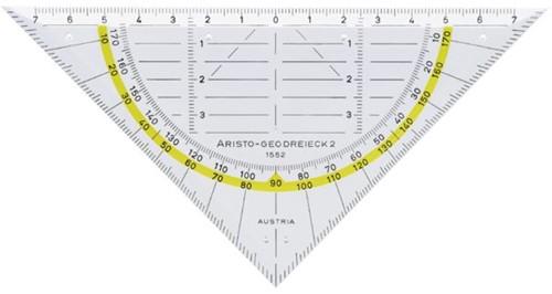 Geodriehoek Aristo 1552 160mm transparant met gele rand