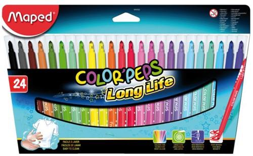 Viltstift Maped Color'peps in karton ophangdoos 24stuks ass,