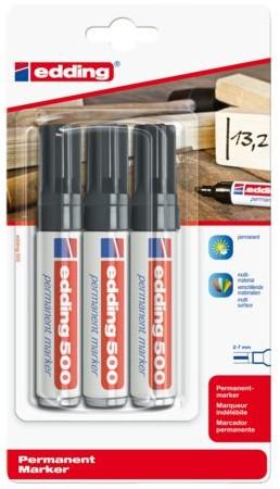 Viltstift edding 500 schuin zwart 2-7mm blister à 3st
