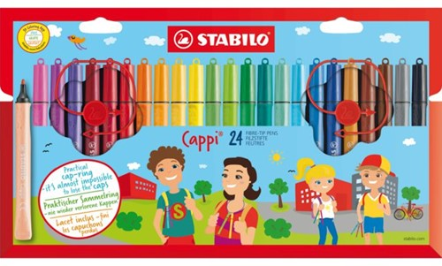 Viltstift STABILO Cappi 168 etui à 24 kleuren