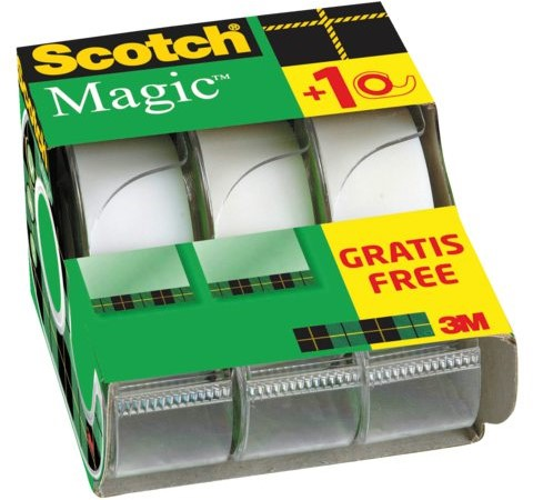 Plakband Scotch Magic 810 19mmx7.5m onzichtbaar mat 2+1 gratis + afroller