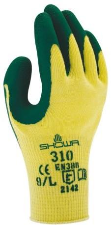 Handschoen Showa 310 grip latex S groen/geel