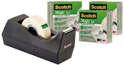 Plakbandhouder Scotch C38 recycled zwart + 3rol magic tape 900 19mmx33m