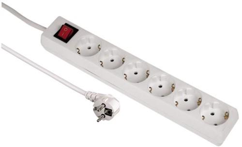 Tafelcontactdoos 6voudig beveiligd 500cm wit