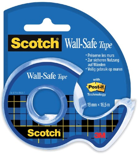 Plakband Scotch 19mmx16.5m Wall Safe + handafroller