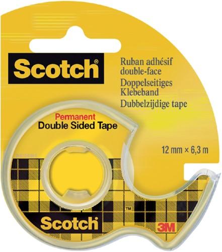Plakband Scotch 665 12mmx6.3m dubbelzijdig + afroller