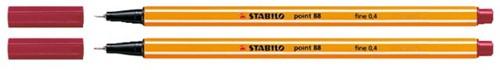 Fineliner STABILO point 88/50 donker rood