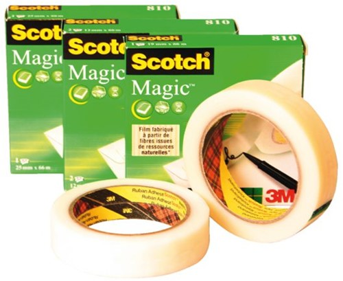 Plakband Scotch Magic 810 12mmx33m onzichtbaar mat