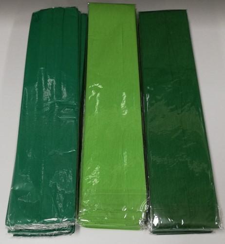 AANBIEDING 3-Pack Haza 3 x 10  vouw crepepapier L.groen - D.groen - Kerstgroen